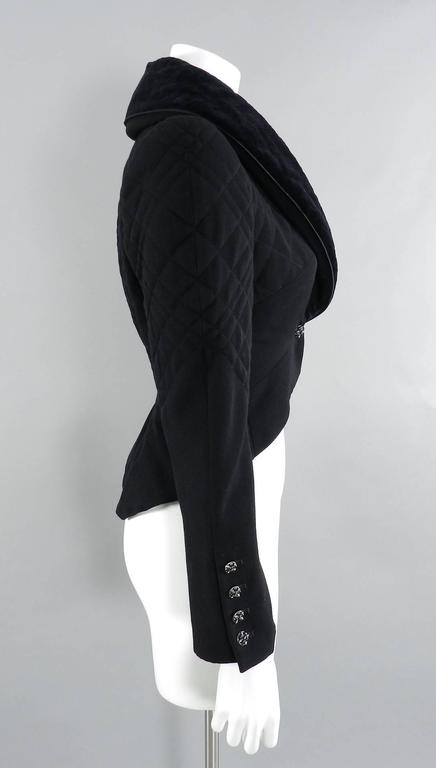 Chanel 06A black Crop Quilted Jacket with Velvet Collar 2