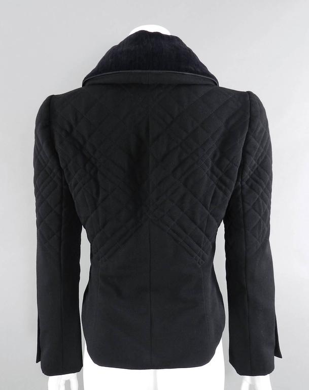 Chanel 06A black Crop Quilted Jacket with Velvet Collar 3