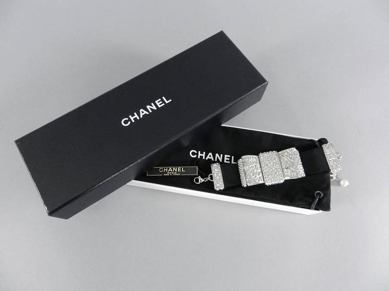 Chanel 13B Rhinestone Jewelled Bow Bracelet  2