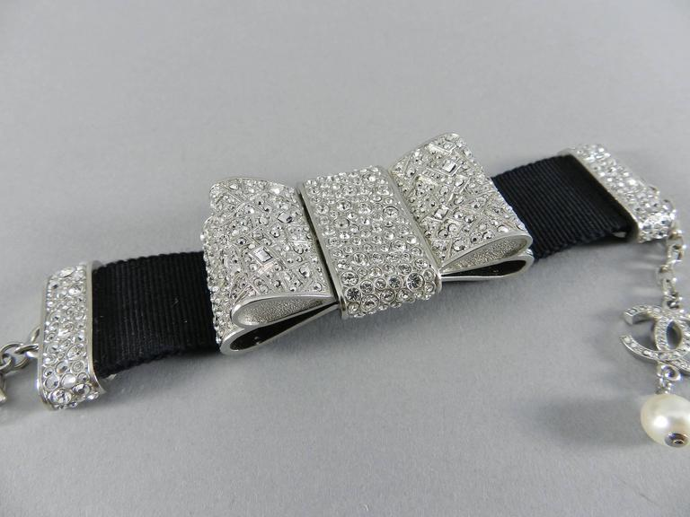 Chanel 13B Rhinestone Jewelled Bow Bracelet  5