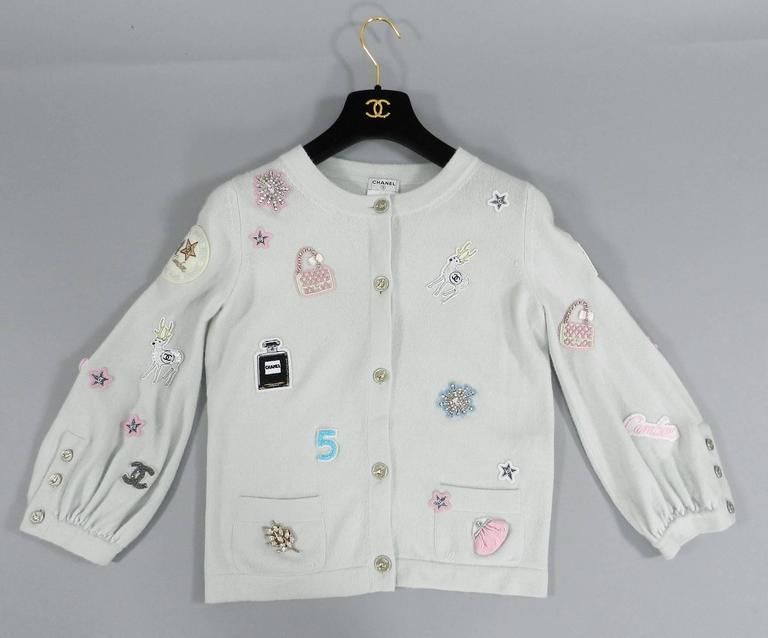Chanel 08P Limited Edition Lucky Charms Light Blue Cashmere Cardigan For Sale 1