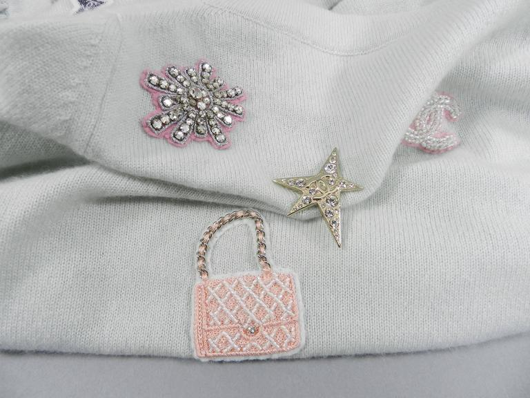 Chanel 08P Limited Edition Lucky Charms Light Blue Cashmere Cardigan For Sale 2
