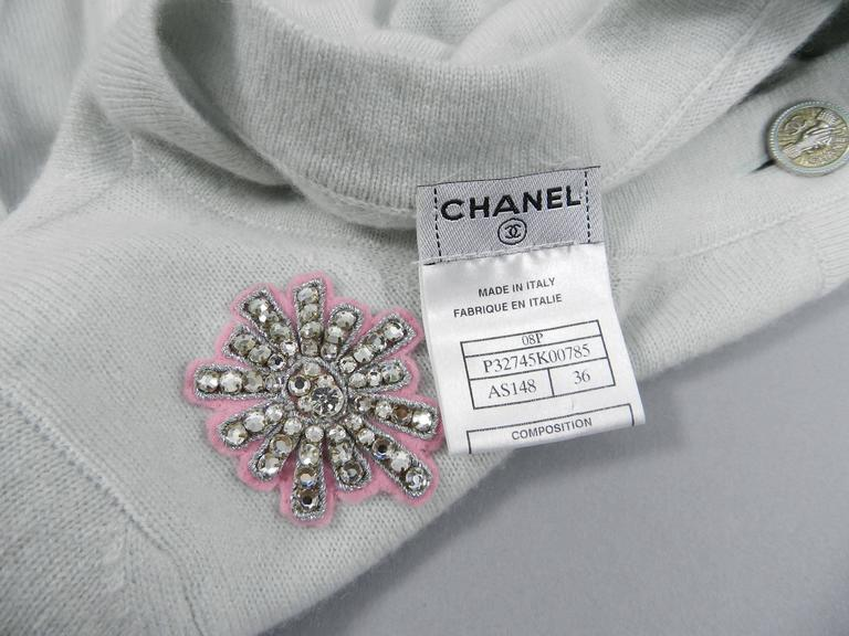 Chanel 08P Limited Edition Lucky Charms Light Blue Cashmere Cardigan For Sale 4