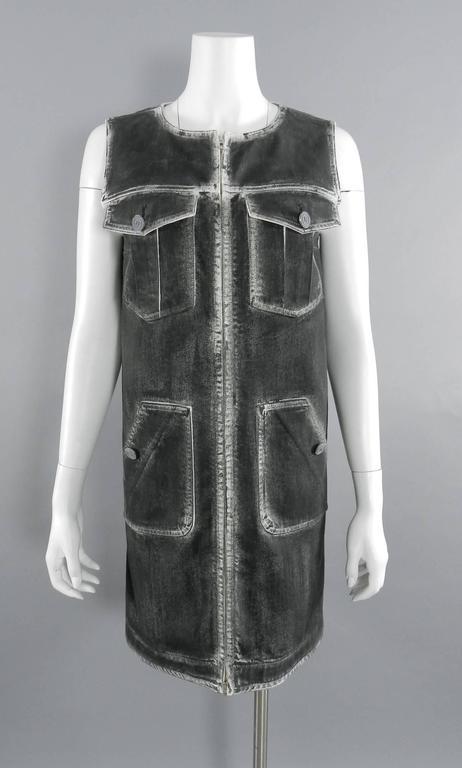 Black Chanel 14S Runway Grey Distressed Denim Vest For Sale