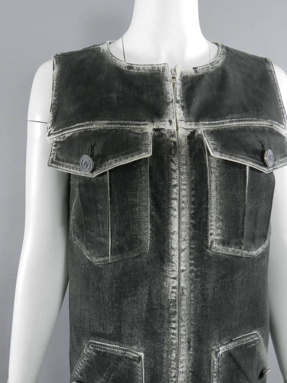 Women's Chanel 14S Runway Grey Distressed Denim Vest For Sale