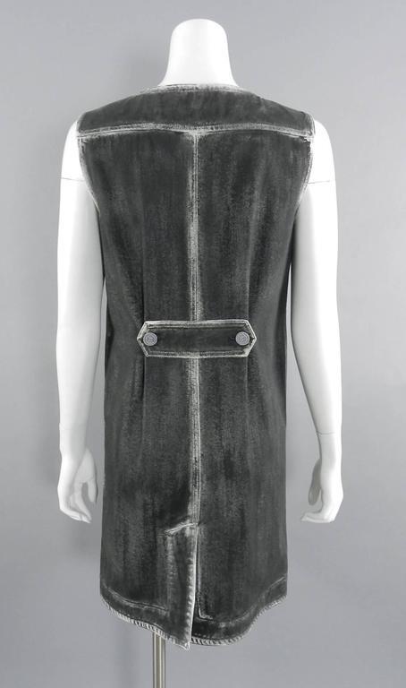 Chanel 14S Runway Grey Distressed Denim Vest For Sale 2