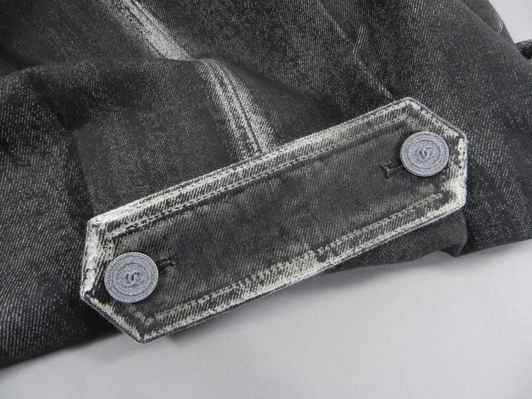 Chanel 14S Runway Grey Distressed Denim Vest For Sale 3