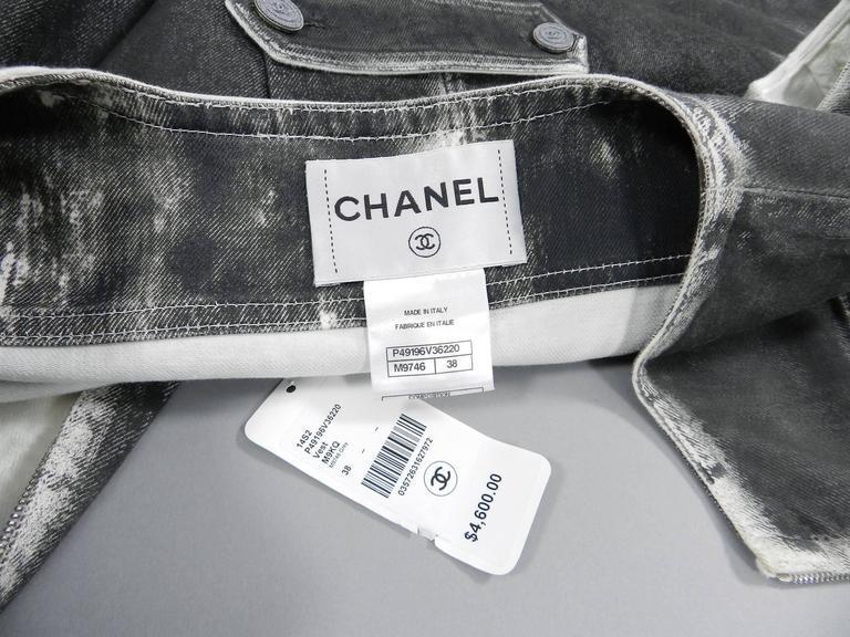 Chanel 14S Runway Grey Distressed Denim Vest For Sale 4