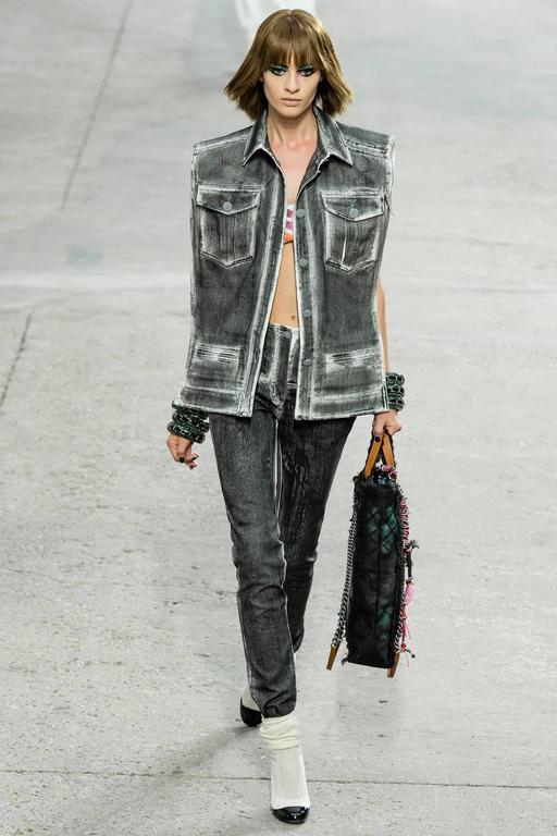 Chanel 14S Runway Grey Distressed Denim Vest For Sale 5
