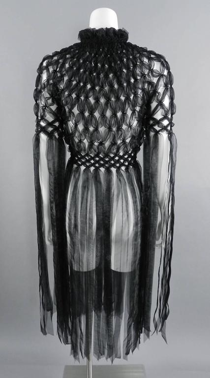 fd5f5a120f89d Women s Noir Kei Ninomiya Comme Des Garcons Black Avant Garde Knotted  Ribbon Jacket For Sale