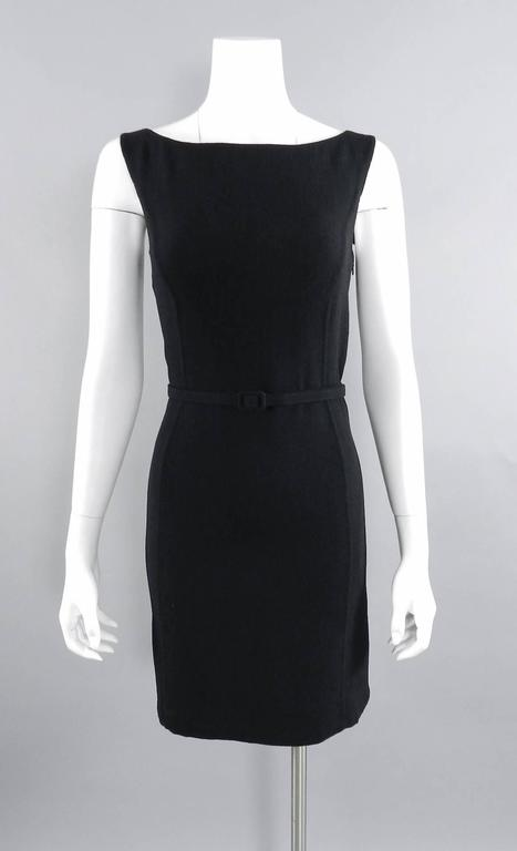 Oscar de la Renta Black Wool Cocktail Dress with Silk Satin Bows 6