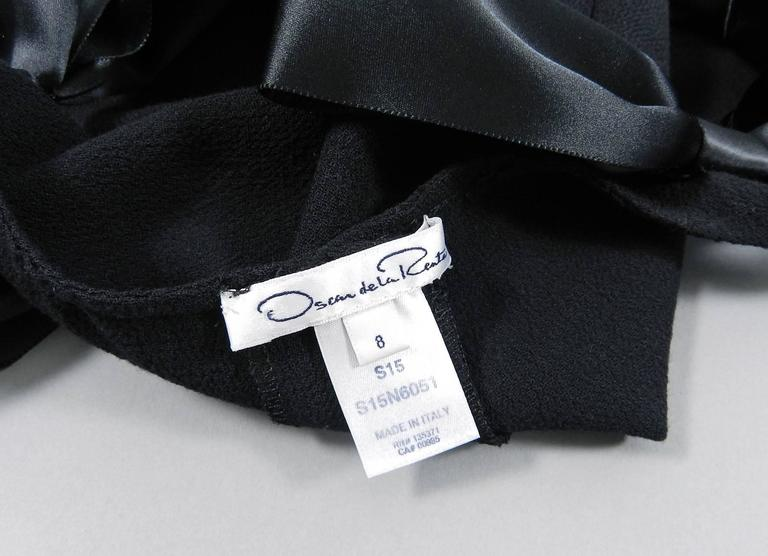 Oscar de la Renta Black Wool Cocktail Dress with Silk Satin Bows 9