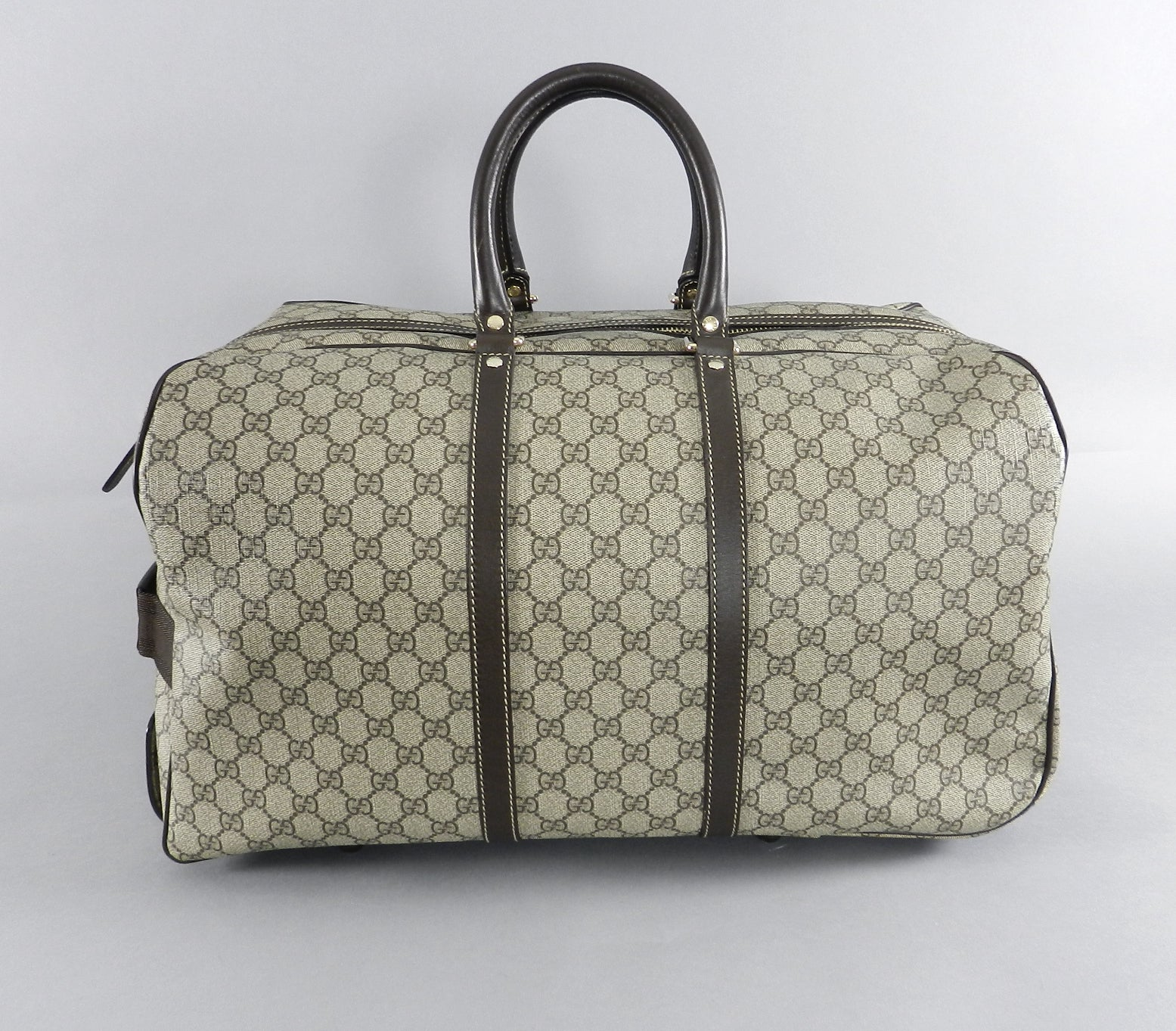 a39e609419ec3b Gucci GG monogram Brown Canvas Duffle Rolling Luggage Carry on Travel Bag  at 1stdibs