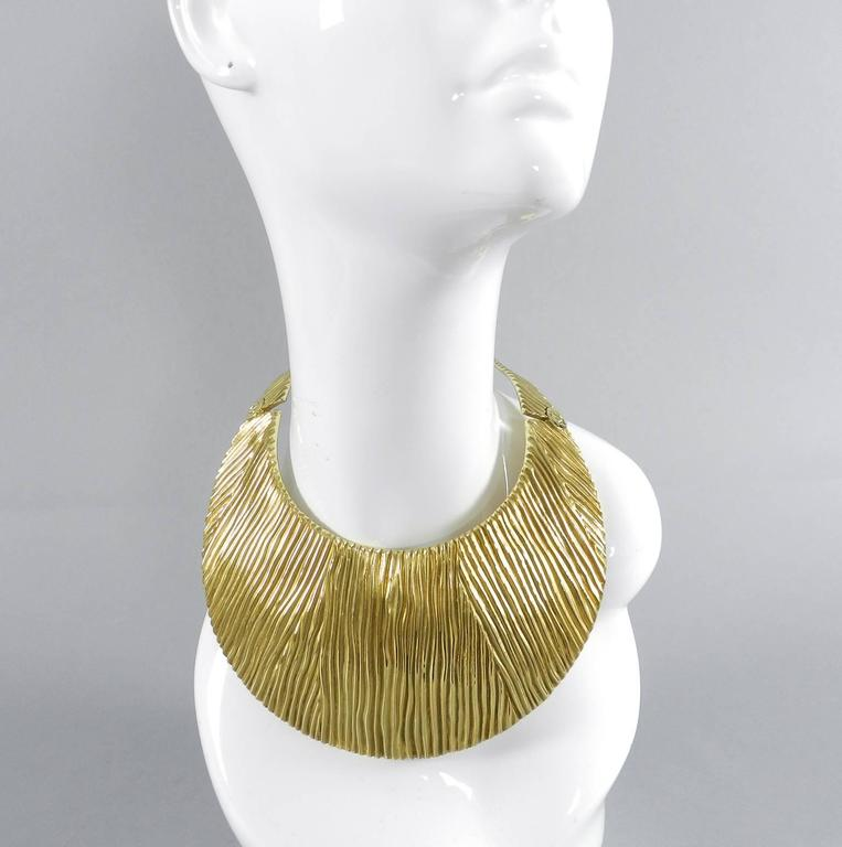 "Tom Ford Huge Statement Collar Necklace.  Hinged design that fastens at back with hooks. Sterling silver with gold wash (sterling vermeil). Hallmarked Tom Ford AG 925 Italy.  Interior circumference of neck is 14"" and is 3.25"" long."