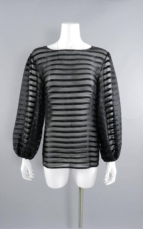 Black Chanel Sheer black striped blouse with full sleeves For Sale