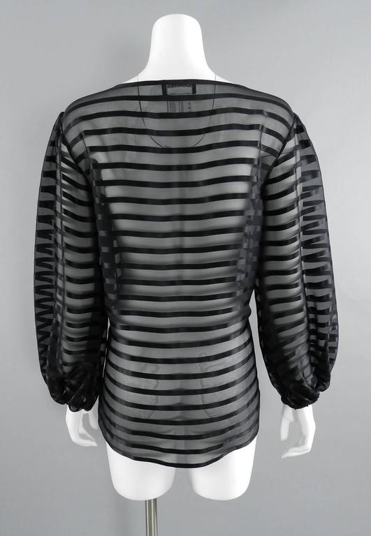 Chanel Sheer black striped blouse with full sleeves In Excellent Condition For Sale In Toronto, CA