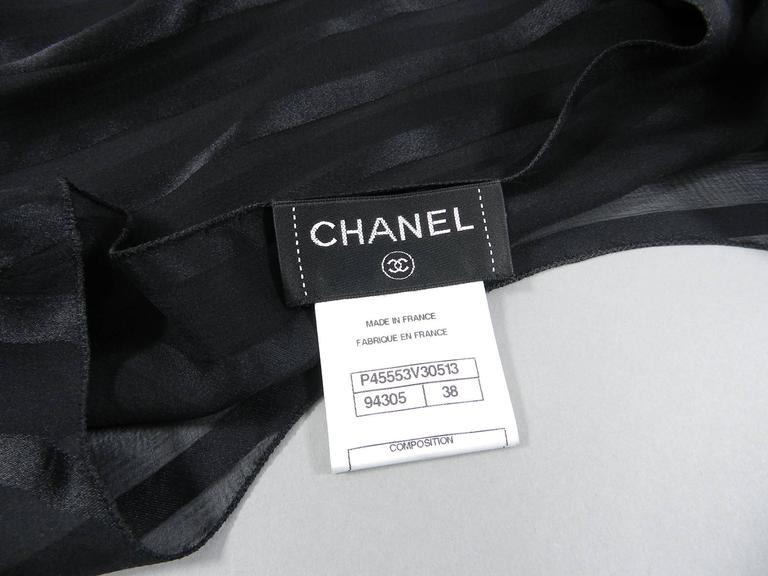 Chanel Sheer black striped blouse with full sleeves For Sale 3