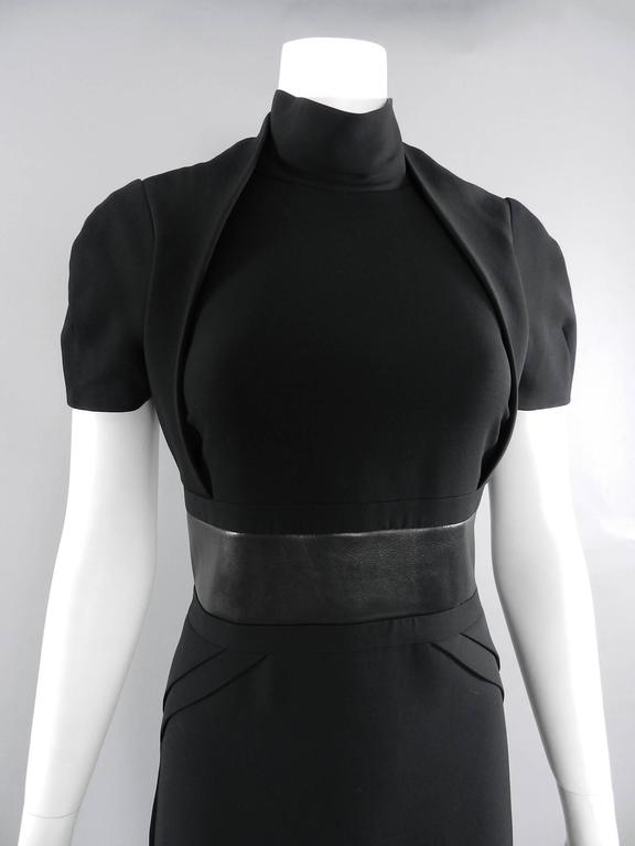Gucci Fall 2013 runway Black Hourglass Dress with Leather Waist In Excellent Condition For Sale In Toronto, ON