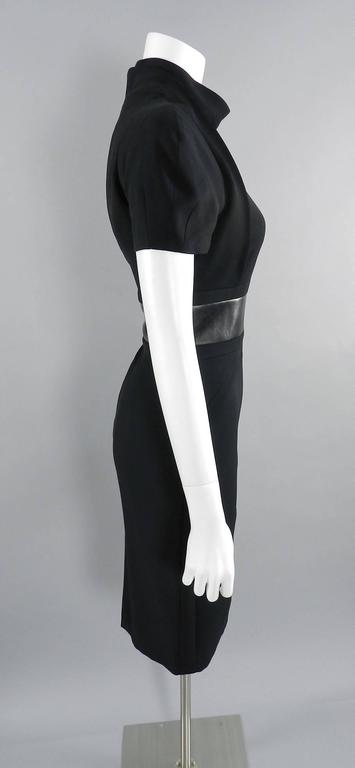Women's Gucci Fall 2013 runway Black Hourglass Dress with Leather Waist For Sale