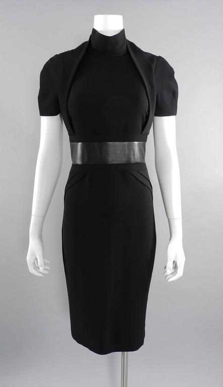 Gucci Fall 2013 runway Black Hourglass Dress with Leather Waist For Sale 4