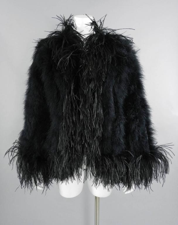 Yves Saint Laurent Vintage 1970's Maribou and Ostrich Feather Glam Jacket 2