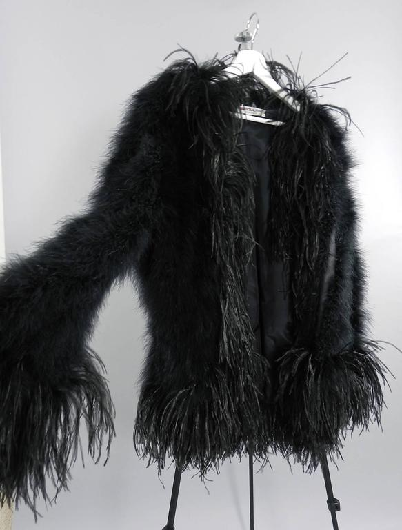 Yves Saint Laurent Vintage 1970's Maribou and Ostrich Feather Glam Jacket 3