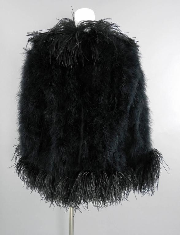 Yves Saint Laurent Vintage 1970's Maribou and Ostrich Feather Glam Jacket 6
