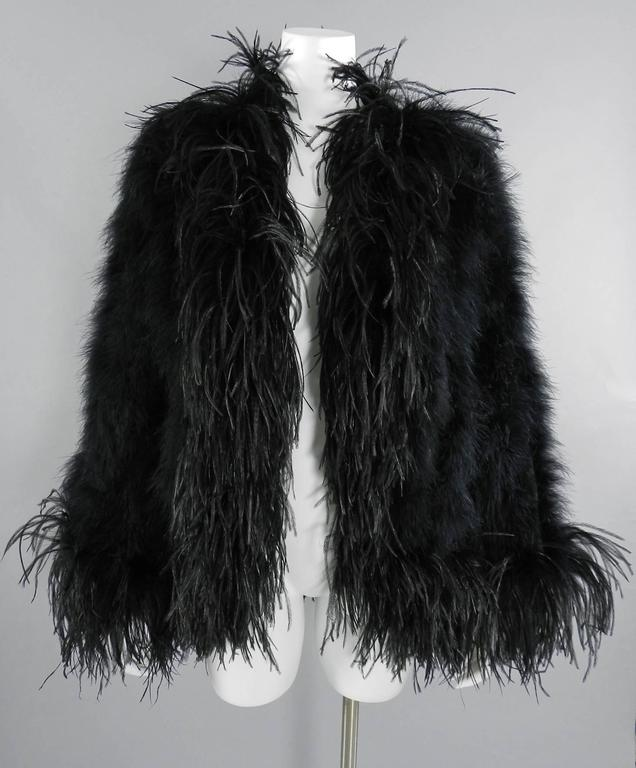 Yves Saint Laurent Vintage 1970's Maribou and Ostrich Feather Glam Jacket 9