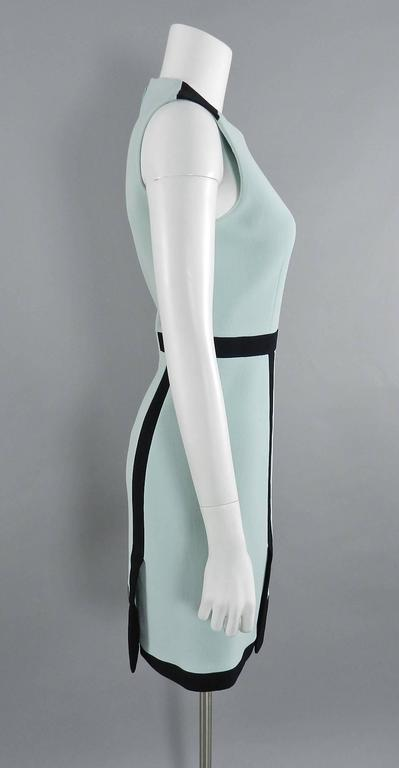 Balenciaga Light Blue and Black Geometric Dress In Excellent Condition For Sale In Toronto, CA