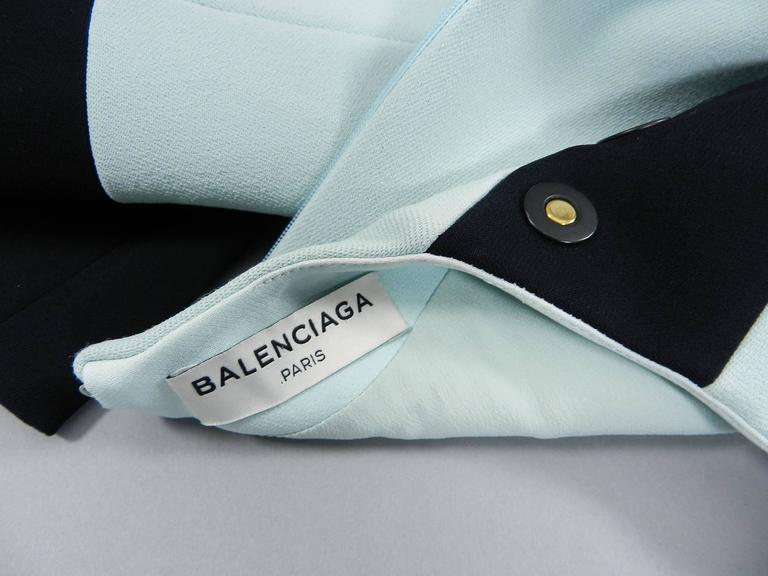 Balenciaga Light Blue and Black Geometric Dress For Sale 3