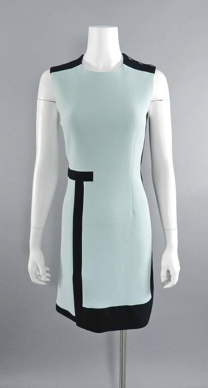 Balenciaga Light Blue and Black Geometric Dress For Sale 5