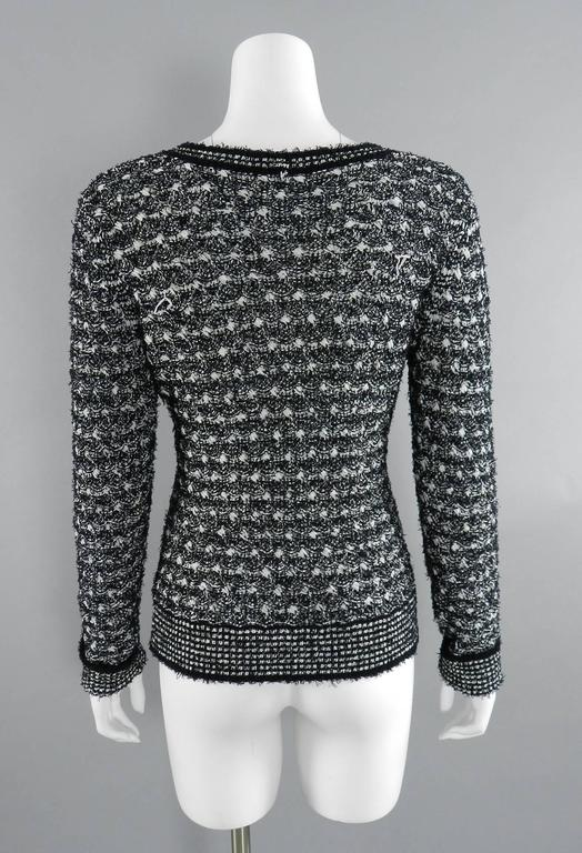 Chanel black and white v neck sweater 2