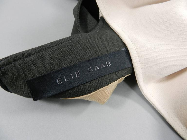 Elie Saab Dark Gray and Shell Pink Wiggle Dress with Ruffle For Sale 1