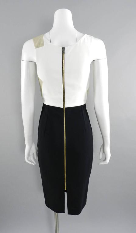 Roland Mouret Beige and Black Perforated Leather Wiggle Dress 4