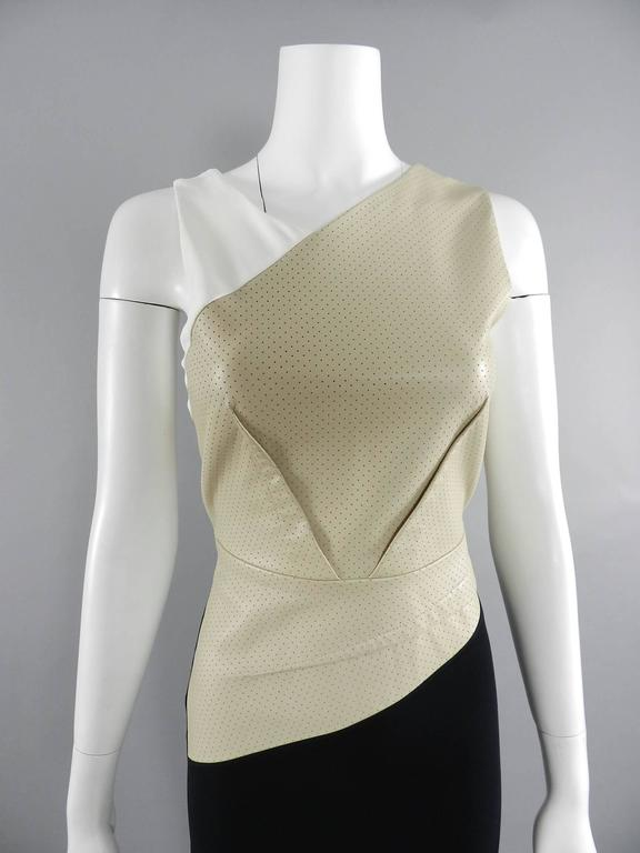 Roland Mouret Beige and Black Perforated Leather Wiggle Dress 8