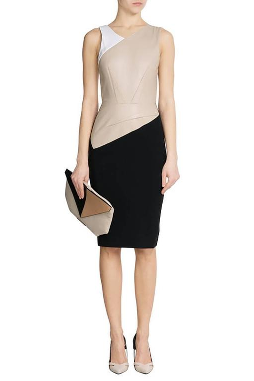 Roland Mouret Beige and Black Perforated Leather Wiggle Dress 2