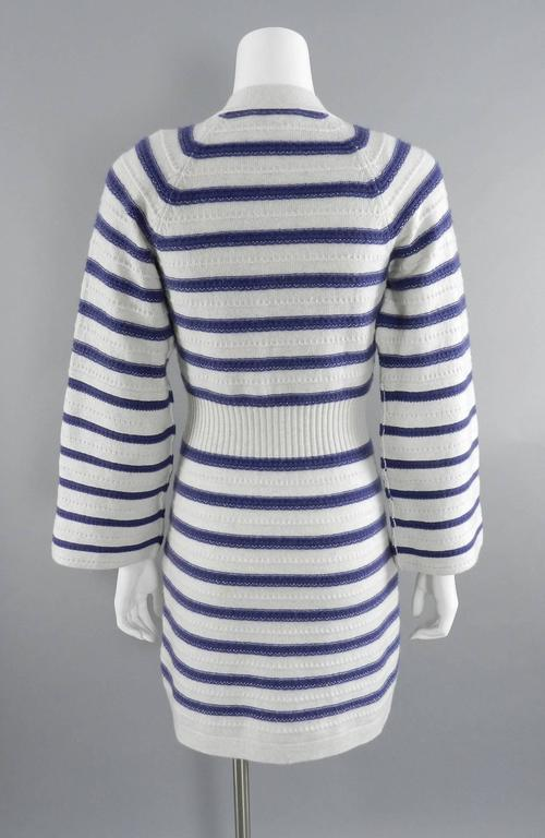 Gray CHANEL 15S Runway Light Grey / Blue Cashmere Striped Cardigan & Tank For Sale