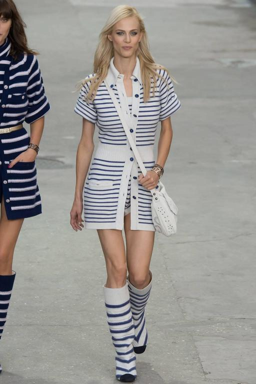 """CHANEL 2015 Spring Runway Light Grey / Blue Cashmere Striped Cardigan & Tank.  Original retail price tags are pictured. Size FR 36 (USA 4). Light dove grey base with indigo blue stripes.  Cardigan measures 35"""" at bust unstretched, about"""