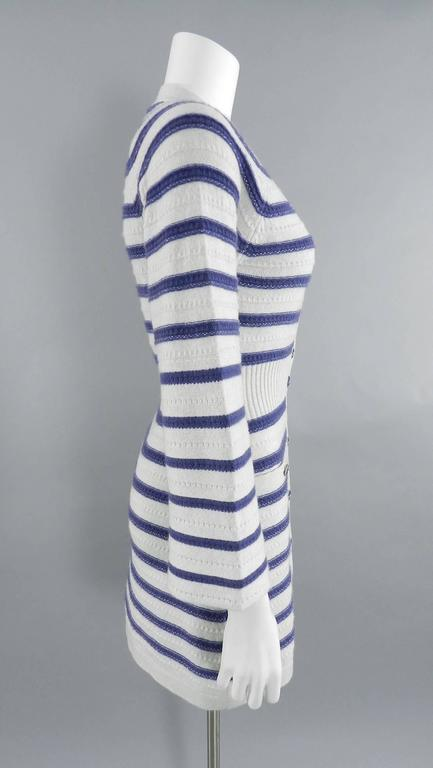 CHANEL 15S Runway Light Grey / Blue Cashmere Striped Cardigan & Tank In Excellent Condition For Sale In Toronto, CA
