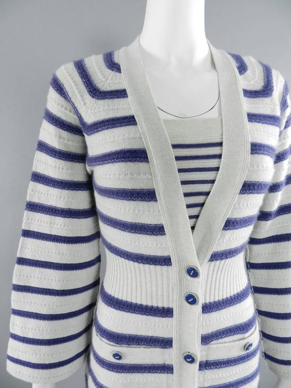 Women's CHANEL 15S Runway Light Grey / Blue Cashmere Striped Cardigan & Tank For Sale