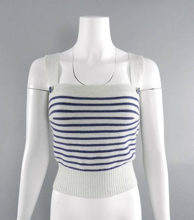 CHANEL 15S Runway Light Grey / Blue Cashmere Striped Cardigan & Tank For Sale 1