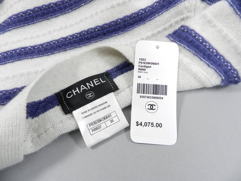 CHANEL 15S Runway Light Grey / Blue Cashmere Striped Cardigan & Tank For Sale 2