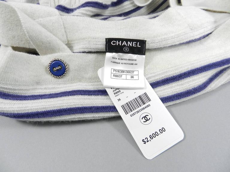 CHANEL 15S Runway Light Grey / Blue Cashmere Striped Cardigan & Tank For Sale 3