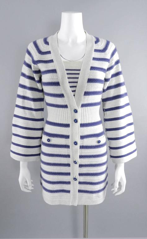 CHANEL 15S Runway Light Grey / Blue Cashmere Striped Cardigan & Tank For Sale 5