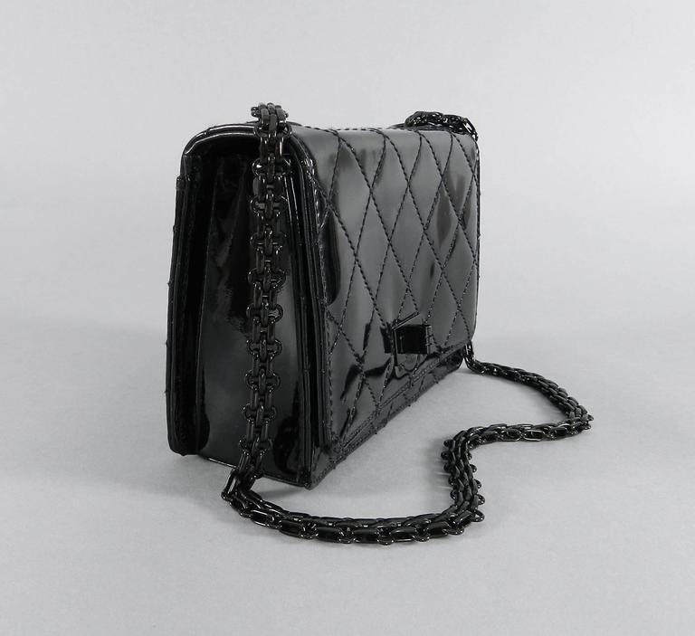 Chanel Limited Edition So Black Patent Quilt Mini Bag with Mademoiselle Chain 2