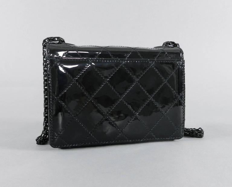Chanel Limited Edition So Black Patent Quilt Mini Bag with Mademoiselle Chain 3