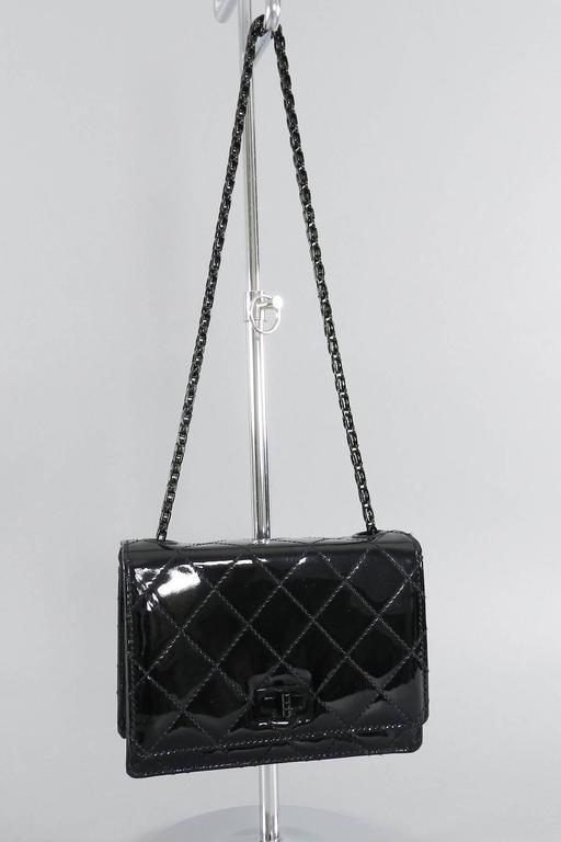 Chanel Limited Edition So Black Patent Quilt Mini Bag with Mademoiselle Chain 8
