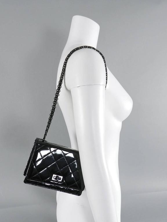 Chanel Limited Edition So Black Patent Quilt Mini Bag with Mademoiselle Chain 9