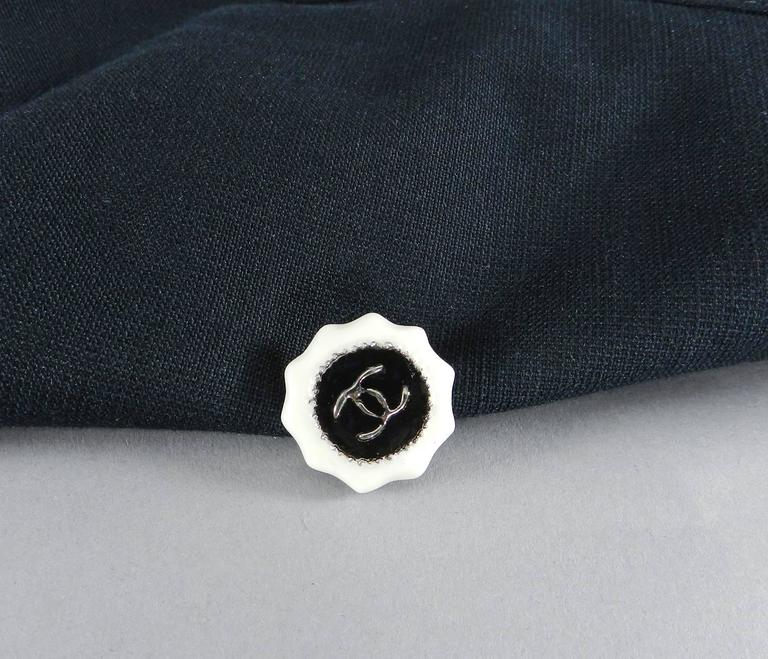 Chanel 14C Black Jacket with White Porcelain CC Buttons 7