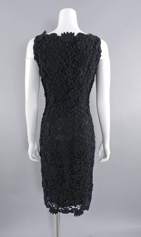 Pierre Balmain Haute Couture by Oscar de La Renta Black Lace Dress 1990's For Sale 1